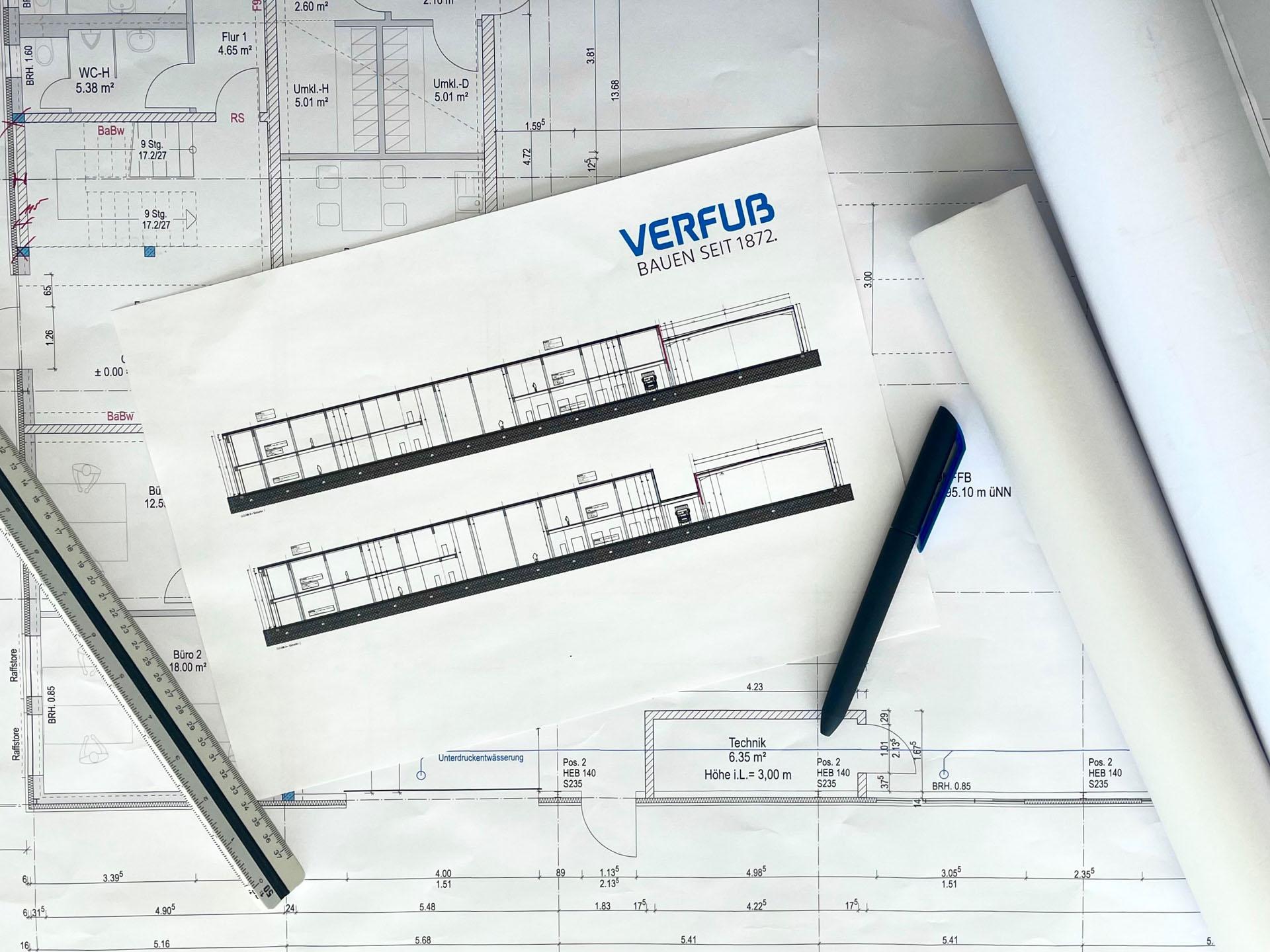 Bauplan eines Bürogebäudes