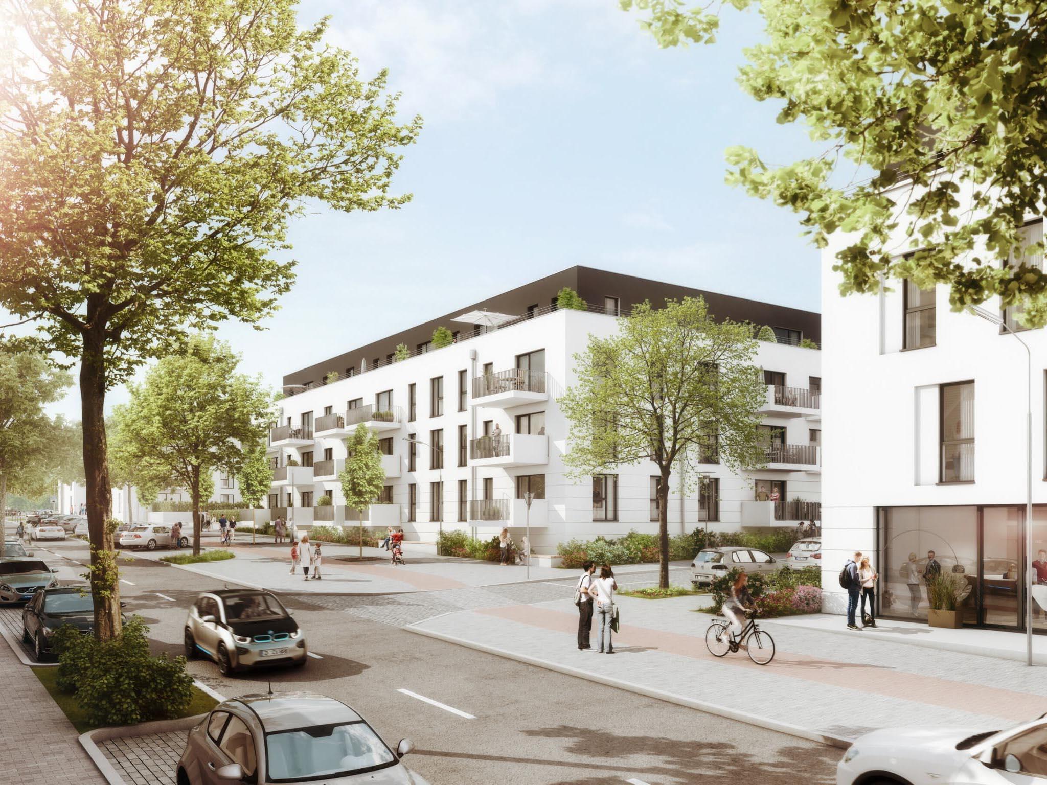 3D-Illustration eines geplanten Wohngebäudes
